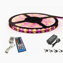 Wholesale Remote Led Light Set - Led RGBW Lights Set SMD 5050 5M 300 LEDs RGBWW Led Strips + 44 Keys IR Remote Control + 12V 5A Power Supply