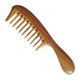 Wholesale Wide Tooth Comb Wholesale - Wholesale Natural Sandalwood Combs,Large Wide Tooth Comb No Tangle Hair Brush Comb Tree Wood Anti-static Hairdressing Styling Tools Handmade