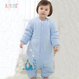 Wholesale Infant Winter Blankets - Fall and winter baby sleeping bags thicker cotton newborn infants and young children's cartoon Blanket Sleepers