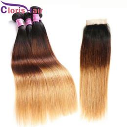 Ombre Soie Droite Raw Bundles De Cheveux Vierges Indiens Et La Fermeture 3 Tons Blonde Remy Cheveux Humains Tisse Avec La Fermeture De Lacet 1B 4 27 Extensions ? partir de fabricateur