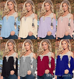 Wholesale Wholesale Lace Shirts - Fashion Womens Blouses Tops Long Sleeve Crochet Panelled Deep V Neck Off The Shoulder Cotton Blend To Shirt For Spring & Autumn 8 Color