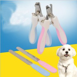 Wholesale Dog Grooming Sets - Pet Dog Cat Nail Scissors Nail File 2PCS  set Puppy Cat Toe Nail Clipper Cutter Pet Cleaning Care Safety Grooming Tools