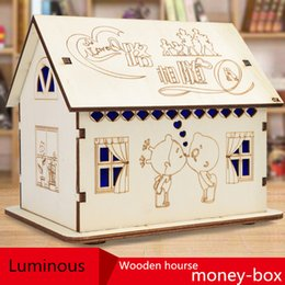 Wholesale House Piggy Bank - DIY Change jar Wooden cartoon Piggy Bank Lamp House Money Save Tank Cottage House Money Tank Creative gift Cute Christmas gift