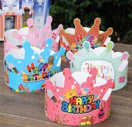 Mode Couronne Conception D'anniversaire Chapeau Couvre-chefs 100 pcs / lot Opp Sac Paquet Parti Caps Décoration Princesse Prince Cap ? partir de fabricateur