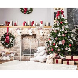 Wholesale indoor wreaths - Indoor Xmas Cloth Backdrops Photography Decorated Christmas Tree Bear Toys Green Pine Wreaths Candles Winter Holiday Family Background 7x5ft