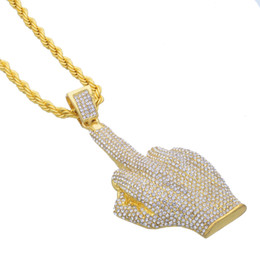 Wholesale Hand Shaped Pendants - Hip Hop Me Iced Out Big Hands Pendants Necklace Rhinstone Rapper Big finger Hand Shape Jewelry For Gifts N605