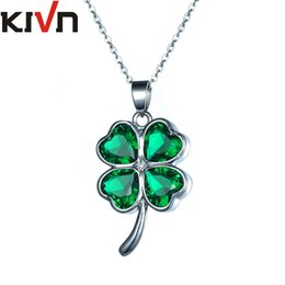 Wholesale Clover Leaf Necklace Jewelry - KIVN Fashion Jewelry Lucky Four Leaf Clover Shamrock Green CZ Cubic Zirconia Pendant Necklaces for Women