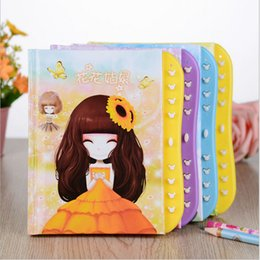 Wholesale Diary For Girls - Wholesale- Free Shipping Cute Kawaii Girl Notebook Journal Personal Diary Book With Lock For Kids Korean Stationery Free Shipping 1015