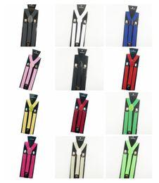 Wholesale Mens Clip Y Suspenders - Wholesale-More color for choose New Mens Womens Unisex Clip-on Suspenders Elastic Y-Shape Adjustable Braces Colorful Free Shipping Cai0055