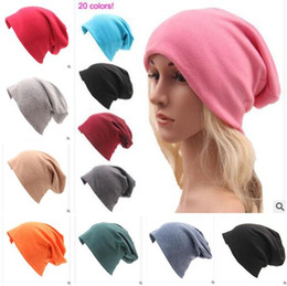 Wholesale Cheap Knitted Hats For Women - Casual Loose Winter Caps for Men Teens Ladies Autumn Winter Solid Color Casual Knitted Thin Cotton Hats For Men Women Adult Caps Cheap