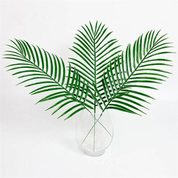 Wholesale Trees Plastic Leaves - 15Pcs Artificial Plastic Leaves Green Plants Fake Palm Tree Leaf Greenery For Floral Flower Arrangement Wedding Decoration