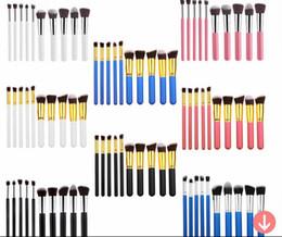 Wholesale Make Up Kit Prices - Factory Price 10pcs makeup brush set 10 silver kabuki brush kit wood handle make up brushes