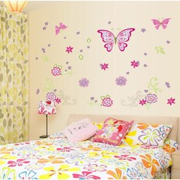 Wholesale Modern Art Dance - Wall Stickers Rain Butterfly With Flower Dance Decal Removable Background Art Mural Home Decor Pastoral Style 4 5sy F R
