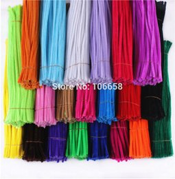 Wholesale Decorative Floor Lights - Wholesale- 100pcs 6mm x 300mm Chenille Stems Twist Wire Stems Pipe Cleaners Children Handmade Education Decorative Flowers & Wreaths