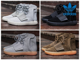 Wholesale Light Brown Boots Men - Adidas Yeezy Boost 750 Pirate Black Light Grey Gum Brown Men Basketball Shoes Fashion Kanye West Shoes Sports Sneaker Boot With Original Box