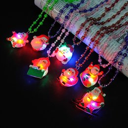 Wholesale Wholesale Light Up Christmas Necklace - glow up flashing led necklace for christmas Kids Colorful Beads Chain LED Light Cartoon Santa Claus Pendant Necklace Party Favors