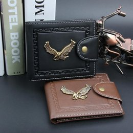 Wholesale Magnets Cards - Letter Trendy Dollar Price Notecase Eagle Pattern Short PU Leather Smooth Wallets Magnet Hasp Credit Card Holders Coin Purse for Men