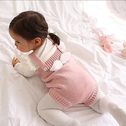 Wholesale Bebe Sizing - 2017 Spring and autumn New Baby Rompers Bebe Climbing Suit Clothes knitting Clothing With Angel Wings for Newborn to 3years baby