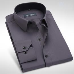 2019 мужские рубашки оптом Wholesale- Port&Lotus Men Dress Shirts Design Black Line Long Sleeve Wholesale Turn Down Collar Mens Clothing BM002 дешево мужские рубашки оптом