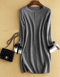 Wholesale Wool Short Dress - Wholesale- Women Brand Wool Cashmere Knee Length Dress Bow knot Dress kFP423 Free Shipping