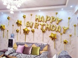 Wholesale Latex Balloons Letters - 16 Inch Glod Sliver 13Pcs HAPPY BIRTHDAY Foil Letters Balloons Set child Kids Birthday Party Decorations Letter Balls Supplies