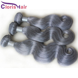 Wholesale Double Drawn Body Wave - Highlight Grey Brazilian Body Wave Hair Weave 3Pcs Human Hair Extensions Double Drawn Weft Wet And Wavy Silver Gray Brizalian Hair