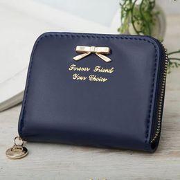 подвесной кошелек Скидка Wholesale- 2015 Fashion Women Leather Wallet BowKnot Pendant Zipper Wallet Small Fresh Purses Ladies Girls Money Card Holder