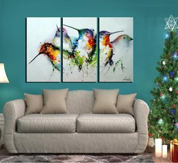 """Wholesale Canvas Bird Paintings - 100% Hand Painted Unframed Wall Art """"Colorful Birds"""" 3-Piece Animal Oil Painting on Canvas for Living Room Artwork for Wall Decor"""
