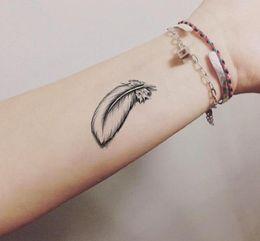 f136d17f7 New WaterProof 3D Temporary Tattoo Stickers Cartoon Feather Fake Tattoo  Sticker for Arm Hand Wrist Leg discount feather wrist tattoo