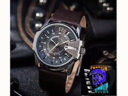 Wholesale Strip Pins - mens watches top brand luxury dz 1399 Leather watch Big dial Fashion men sports military watch DZ7331 Steel strip Quartz relogio masculino