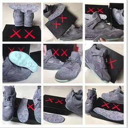 Wholesale Grey Market - New high quality Air Retro 4 Kaws Basketball Shoes 2017 Cheaper Air IV Grey Color Glow Suede Shoes Fashion In Market Size 41-47