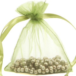 Wholesale Diy Organza Bags - 100 Pcs Olive Green Organza Jewelry Gift Pouch Bags 9X12cm ( 3.5 x 4.7 inch) Drawstring Organza Gift Candy DIY Beads Bags