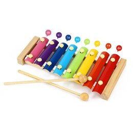 Wholesale Wooden Music Instruments Children - Hand Knock Xylophone Kids Intelligence Development Toy 8 Notes Wooden Elephant Glockenspiel Musical Instrument Music Toy For Kids Children