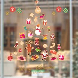 Wholesale Xmas Decals Free - Merry Christmas Xmas Tree Santa Claus cartoon cute Wall Sticker Window Home DIY Decal Decor free shipping