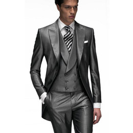 Wholesale Harris Jackets - 2017 Dark Grey Custom Made Groom Tuxedos Groomsmen Best man Men's Wedding Suits (Jacket+Pants+Vest) wedding Tailcoat suit EW7103