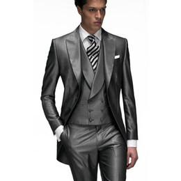 Wholesale Men Light Grey Suits Vest - 2017 Dark Grey Custom Made Groom Tuxedos Groomsmen Best man Men's Wedding Suits (Jacket+Pants+Vest) wedding Tailcoat suit EW7103