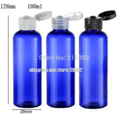 Wholesale Shampoo Packaging Bottles - 20 x 100ml Empty Blue PET Cream Bottle With Filpl Top Cap, 100cc Blue Plastic Shampoo Bottle,Cosmetic Packaging