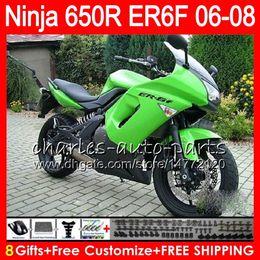 Wholesale Kawasaki Er6 - 8Gifts 23Colors Body For KAWASAKI NINJA 650R ER6F 06 07 08 Ninja650R gloss green 20NO42 ER 6F 06-08 ER6 F ER-6F 2006 2007 2008 Fairing Kit