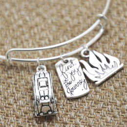 Wholesale Camping Plates Wholesale - 12pcs Camping Trailer-Traveler with fire and Find joy in the journey charm bangle bracelet
