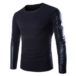 Wholesale Men Leather Sleeves Sweater - Wholesale- High Quality Brands New Autumn Winter Men'S Sweater Man O-Neck Jumpers Long Sleeve PU Leather Patchwork Pullover Male Puls Size