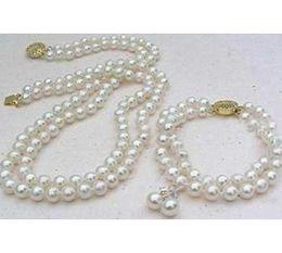 Wholesale Double Strand Pearl Necklace Bracelet - Elegant double strand 9-10mm Akoya white pearl necklace 18-19inch 14k gold free bracelet earring