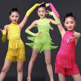 Wholesale Latin Dancing Dresses Children - Girls Sequined Tassels Latin Dance Competition dress Kids Ballroom Tango Salsa Fringe costumesDress child dancewear outfits