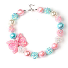 Wholesale Fashion Dress Up Kids - Baby Fashion pearl necklace with Bow Kids jewelry chunky necklace Girls Princess Bubblegum Necklace For Dress up party accessories