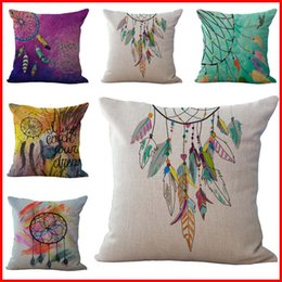 Wholesale indian sofa covers - Indian Dreamcatcher Never Stop Dreaming Pillow Case Cushion cover Linen Cotton Throw Pillowcases sofa Bed Car Decorative Pillow covers