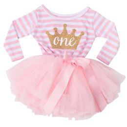 Wholesale Wholesale Tutus For Little Girls - Wholesale- Little Girl Stripe Tutu Dress For Baby Kids First Birthday Party Dresses Long Sleeve Infant Girl Clothing Age 1 2 Years Old Girl