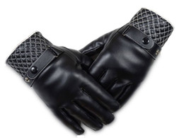 Wholesale Mens Black Leather Gloves - Mens Autumn And Winter Warm Cycling Gloves Plus Velvet PU Leather Fingers Glove Diamond Shaped Design Free Shipment