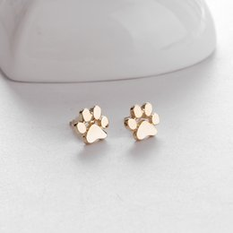 Wholesale Wholesale Earrings Studs - hollow pet cat dog lover paw print stud earrings Puppy Memorial Minimalist earring cute animal footprint gold silver plated earrings