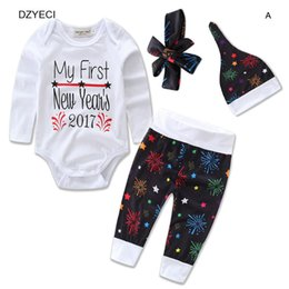 Wholesale Toddler New Years Outfit - New Year Outfits For Baby Boy Girl Set Clothes Fashion Toddler Hat+Bow Headband+Bodysuit Romper+Print Floral Pant 4PCS Suit Kid Costume