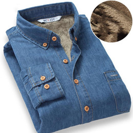 Wholesale Fleece Lined Shirt L - Wholesale- 2016 Fashion Brand Winter Jeans Shirt Men Warm Fleece Lined Velvet Denim Shirts 4XL Male Bottoming Shirt Fast Shipping