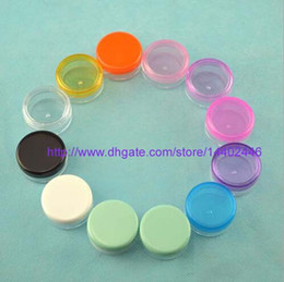 Wholesale Empty Powder Containers - 1000pcs Multicolor plastic Cosmetic 3g Empty Jar Pot Eyeshadow Makeup Face Cream Container loose powder Bottle 3g